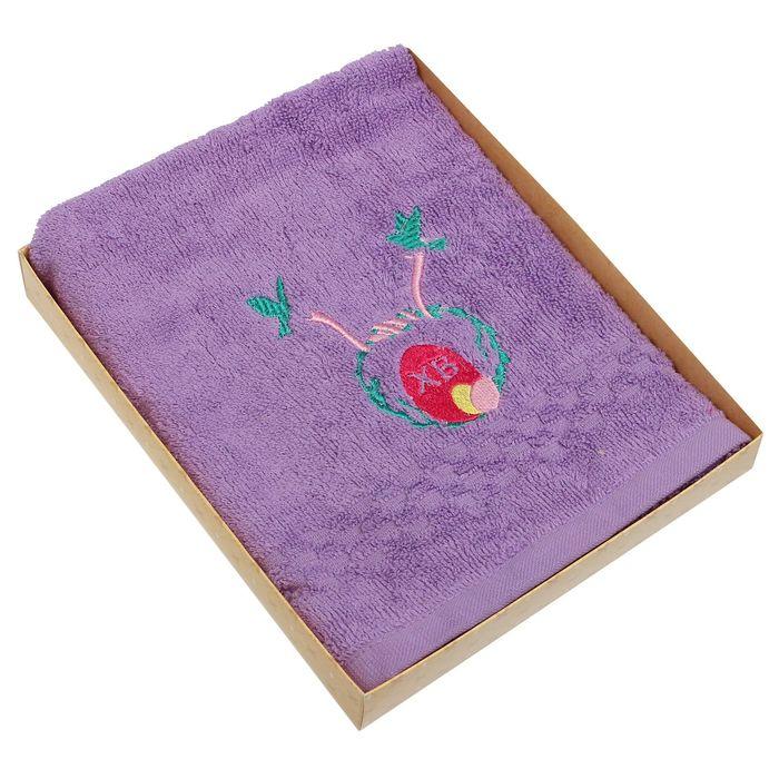 Полотенце Collorista ХВ с вышивкой, цвет фиолетовый, 40х70 см, 400 гр/м2