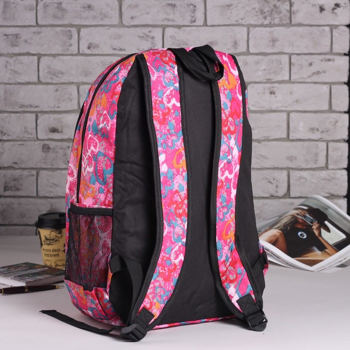 Рюкзак школьный, отдел на молнии, 2 наружных кармана, 2 боковых сетки, цвет розовый - фото 443636856