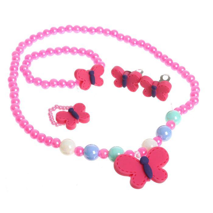 """Набор детский """"Выбражулька"""" 4 предмета: клипсы, бусы, браслет, кольцо, бабочка, цвет МИКС"""