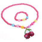 """Набор детский """"Выбражулька"""" 2 предмета: кулон, браслет, яркие вишенки, цвет МИКС"""