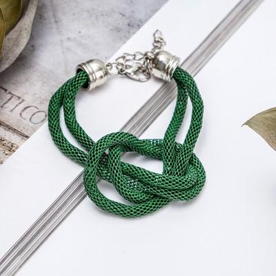 """Браслет металл """"Жгут"""" 2 нити, узел, цвет зеленый в серебре"""