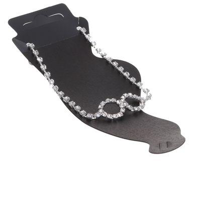 """Браслет на ногу """"Блеск"""" бесконечность, цвет белый в серебре"""