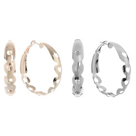 Серьги-кольца 'Широкие' сердечки, цвет МИКС, d=4,5см Ош