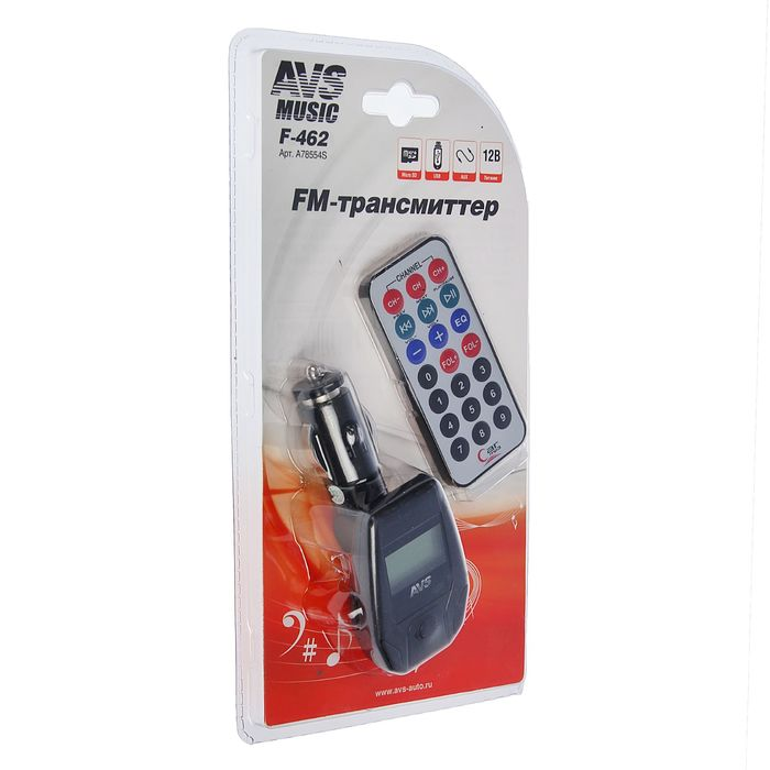 FM трансмиттер AVS F-462, дисплей, пульт