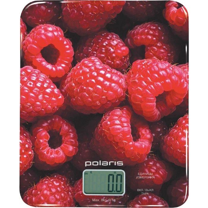 """Весы кухонные Polaris PKS 0832DG, электронные, до 8 кг, рисунок """"малина"""""""