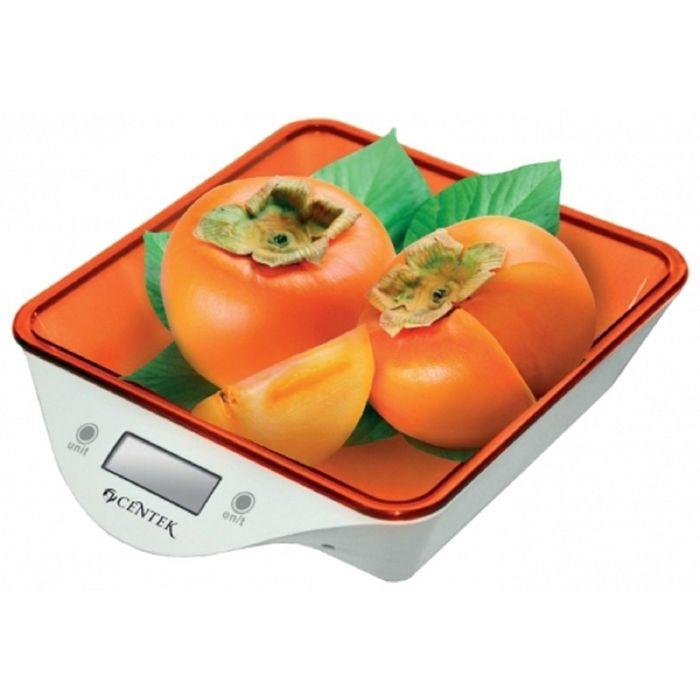 Весы кухонные Centek CT-2455, электронные, до 5 кг, белый/оранжевый