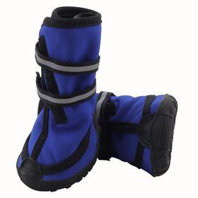 Ботинки высокие на липучках Triol для собак S, светоотражающие, синие