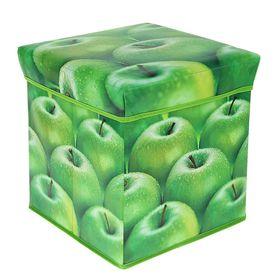 Короб для хранения (пуф) складной, 31×31×31 см, цвет зелёный