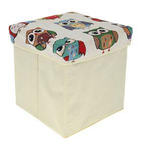Короб для хранения (пуф) складной, 31×31×31 см, цвет бежевый