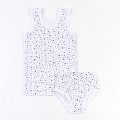 Комплект для девочки (майка+трусы), рост 128-134 см, цвет белый, принт микс  1103-68