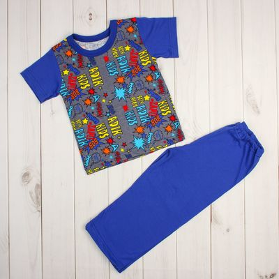 Пижама для мальчика (футболка+брюки), рост 86-92 см, цвет синий, принт микс 1311-52 _М