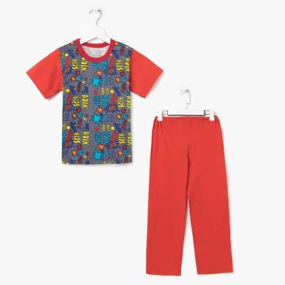 Пижама для мальчика (футболка+брюки), рост 116-122 см, цвет красный, принт микс 1311-64