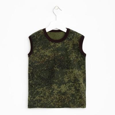 Майка для мальчика, рост 104-110 см, цвет зелёный, принт камуфляж 1256-60