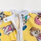 Пеленка-кокон на молнии, рост 50-62 см, кулирка, цв жёлтый, принт микс 1129_М - фото 105553687