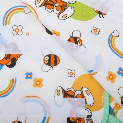 Пеленка-кокон на липучках, рост 50-62 см, фланель, цвет белый, принт микс 1177_М
