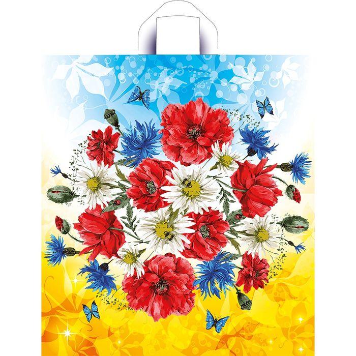 """Пакет """"Луговые цветы"""", полиэтиленовый с петлевой ручкой, 44x40 см, 40 мкм - фото 308291713"""
