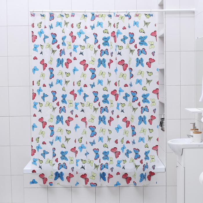 "Штора для ванной 180×180 см ""Бабочки"", PEVA"