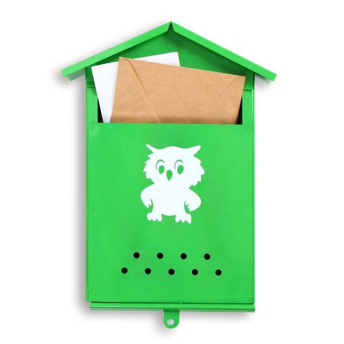 Ящик почтовый без замка (с петлёй), вертикальный, «Домик», зелёный