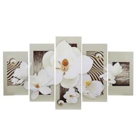 """Картина модульная на подрамнике """"Белоснежные цветы"""" 2-28*50, 1-29*83, 2-28*65; 140х83"""