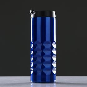 Термостакан 500 мл, прямая, без ручки, ромбы внизу, внутри пластик, микс, 7х20 см