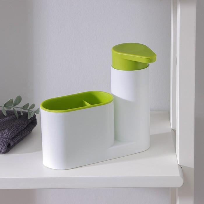 Подставка для ванных и кухонных принадлежностей с дозатором, 6×17,5×19 см, цвет МИКС
