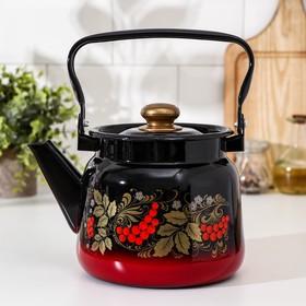 Чайник Сибирские товары «Рябина», 2,3 л, эмалированная крышка, цвет красно-чёрный, МИКС