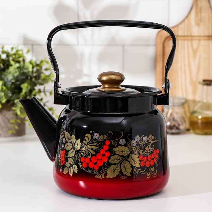 Чайник «Рябина», 2,3 л, эмалированная крышка, цвет красно-чёрный, МИКС - фото 213570