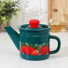 Чайник заварочный 1 л, фиксированная ручка, цвет бирюзовый, декор МИКС