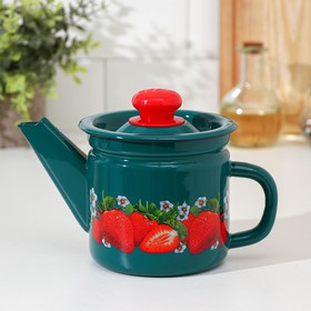 1 l teapot, fixed handle, turquoise color, MIX decor.