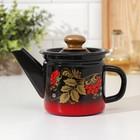 Чайник заварочный 1 л, фиксированная ручка, цвет красно-чёрный, рисунок МИКС