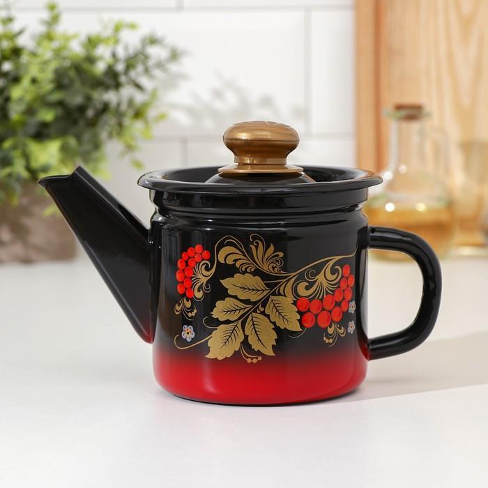 Чайник заварочный 1 л, фиксированная ручка, цвет красно-чёрный