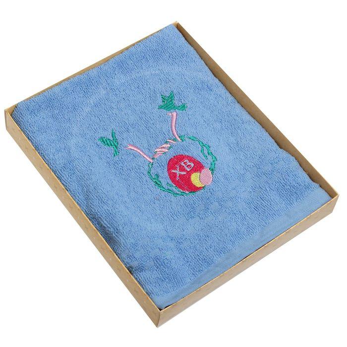 Полотенце Collorista ХВ с вышивкой, цвет лазурный, 40х70 см, 400 гр/м2