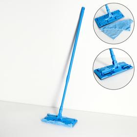 Швабра плоская, телескопическая ручка 80-128 см, насадка из микрофибры