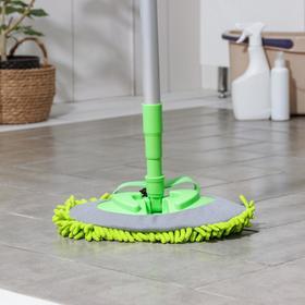 Швабра для мытья пола плоская 3 в 1 Доляна, телескопическая окрашенная ручка 72-118 см, насадка микрофибра 18×26 см