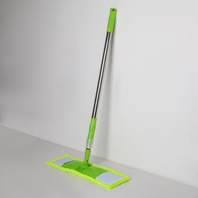 Швабра плоская Доляна, телескопическая стальная ручка 92-122 см, насадка из микрофибры 42×12 см, цвет МИКС