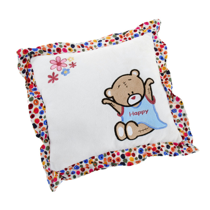 Soft toy-pillow is square with a bear