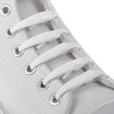 Набор силиконовых шнурков, 6шт, с плоским сечением, на застёжке, 6мм, 12см, цвет белый