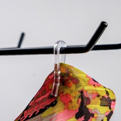Крючок с зажимом, пластиковый, L=3.8, цвет прозрачный