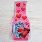 """Package for flowers (a vase) with a postcard """"Hearts. For you"""""""