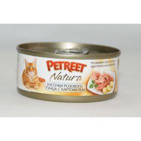 Влажный корм Petreet для кошек, кусочки розового тунца с картофелем, ж/б, 70 г