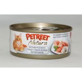 Влажный корм Petreet для кошек, кусочки розового тунца с рыбой дорада, ж/б, 70 г