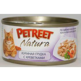 Влажный корм Petreet для кошек, куриная грудка с креветками, ж/б, 70 г