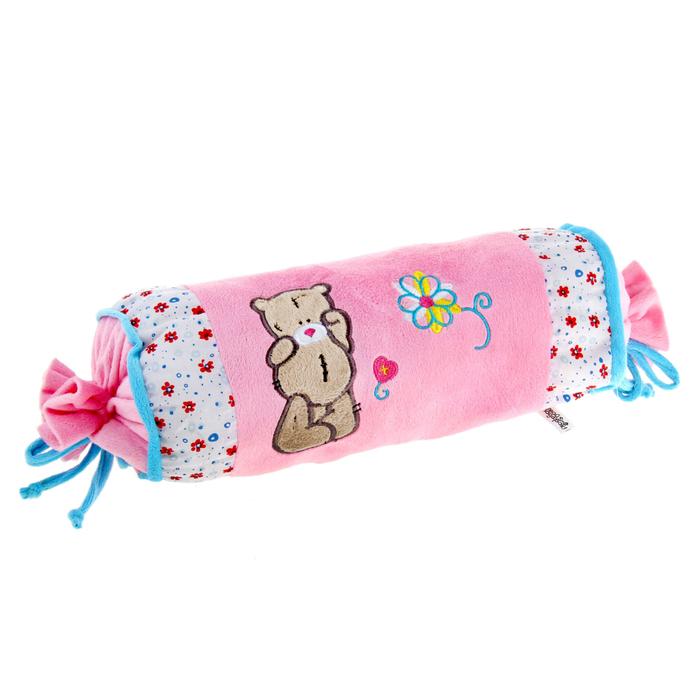Мягкая игрушка -подушка овал розовая с мишкой