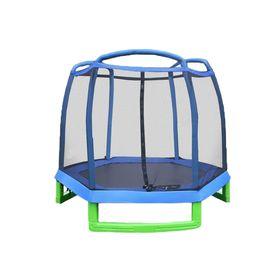 Батут PERFETTO SPORT 7 ft, d=210 см, с внешней защитной сеткой, синий/зелёный