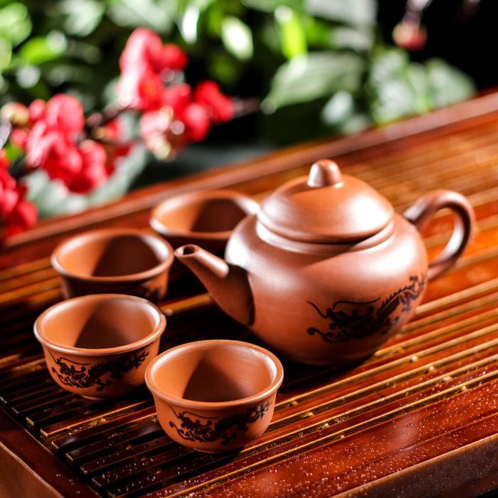 """Набор для чайной церемонии """"Дракон"""", 5 предметов: чайник 200 мл, 4 пиалы 25 мл"""