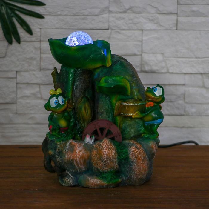 Фонтан лягушки у листа 26 см (с подсветкой)