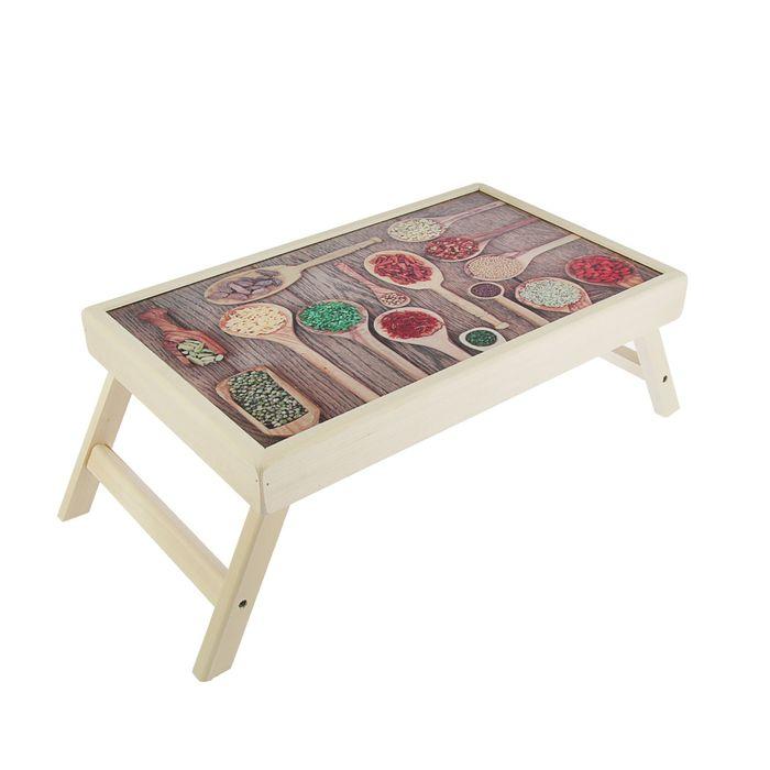 """Столик для завтрака """"Специи в ложках"""" стеклянная поверхность"""