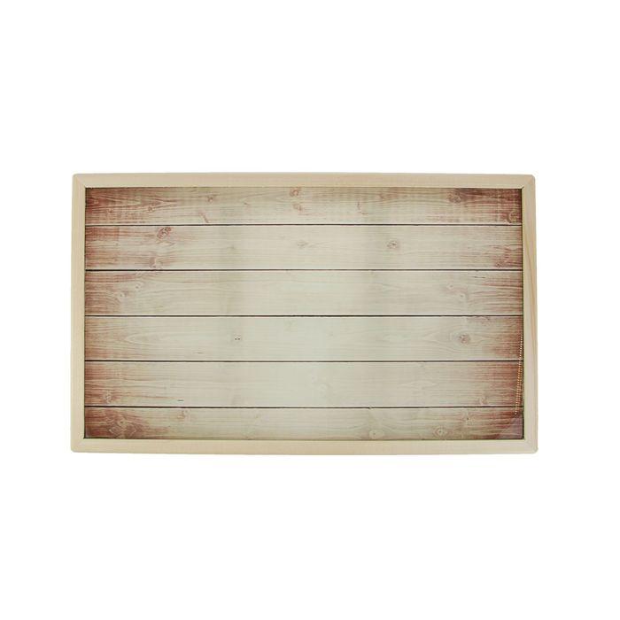 """Столик для завтрака """"Деревянная текстура"""" стеклянная поверхность 50х30см"""
