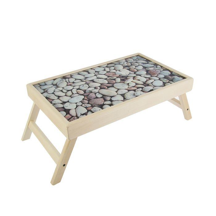 """Столик для завтрака """"Камни"""" стеклянная поверхность"""