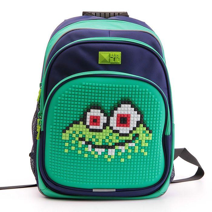 """Рюкзак школьный эргономичная спинка Пиксель 4ALL KIDS 39*27*17 см RK61-07N """"Монстр Водяной"""", зелёный"""